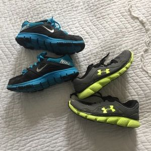 Nike Under Armour Boys Size 2.5Y Sneakers Bundle